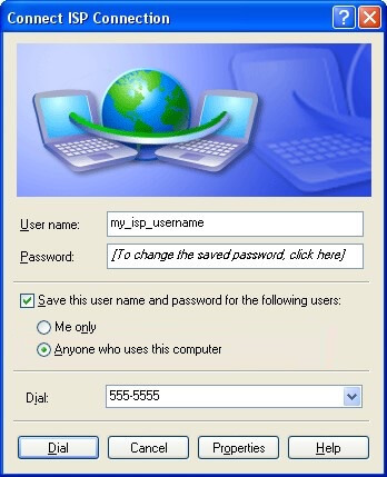 Dial-up connection window in Microsoft Windows XP